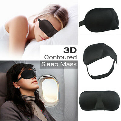 3D Cushioned Contoured Sleep Mask Eye Pillow Breathable Fabric, Adjustable Strap