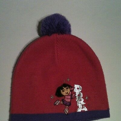 Nick Jr Girls Dora The Explorer Stocking Hat Cap Pink, Purple Trim