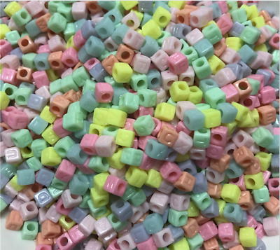 100Pcs Color Letter Cube Beads - Mixed Letter 6mm