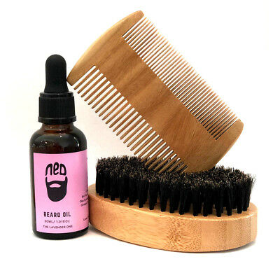 NED Lavender Beard Oil with The Best Beard brush & Beard comb set Mens Gift Idea