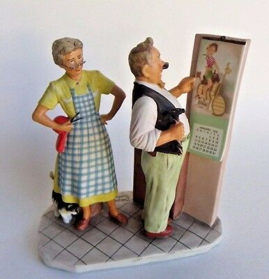 Norman Rockwell Gorham Four Seasons 1957 Winter New Year Look Porcelain Figurine