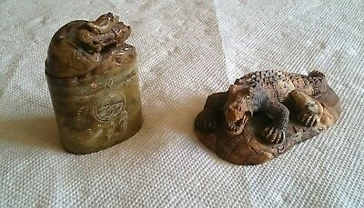 Antique Chinese Jade Alligator and Dragon stamp several hundred years old NICE