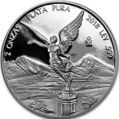 2018 2 Oz PROOF Silver MEXICAN LIBERTAD Coin.  IN CAPSULE