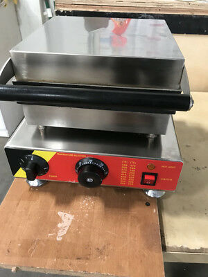 Used Commercial Nonstick Electric Belgian Liege Waffle Maker Iron Baker Machine