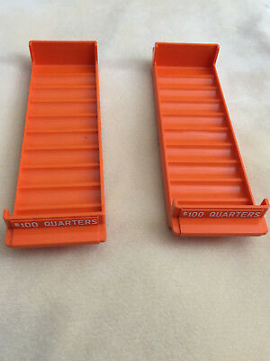 2 Pieces MMF Orange Plastic Rolled Coin Storage Trays for $100 Quarters