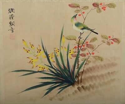 Vintage / Antique Chinese Silk Painting Song Bird With Yellow Flowers Hand Paint