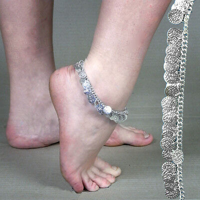 Silver Coloured Metal Bollywood Style Dangley Coin Anklet Indian Dress Up Bling