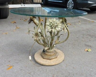 Italian Hollywood Regency Tole Flowers ( Which Light Up ) Table W Marble Base
