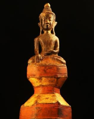 BUDDHA: Antique Bhumisparsamudra from Laos, Gilded & Painted Bronze,1800's,12.5""
