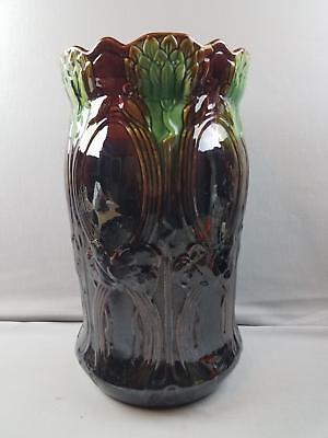 "Beautiful Vtg 18x10"" Brush McCoy Pottery Umbrella Stand Green & Brown Majolica"