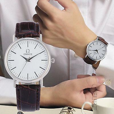 Casual Men's Luxury Leather Strap Watch Slim Dial Analog Quartz Wrist Watches