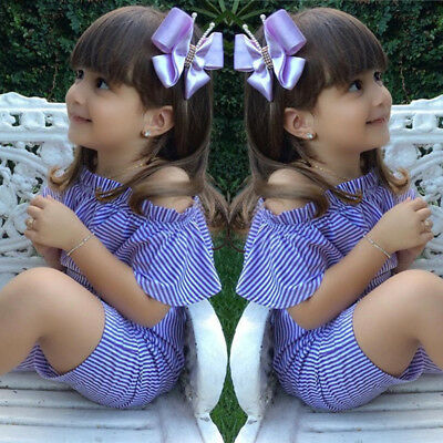US Stock Toddler Infant Kids Baby Girls Off Shoulder Jumpsuit Outfits Clothes