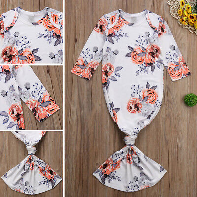 e09204a309 Newborn Baby Girl Floral Bodysuit Long Sleepwear Nightgown Gown Cotton  Outfit