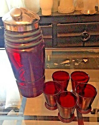 Vintage Heavy Cranberry Coctail Shaker With 5 Shot Glasses