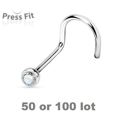 50 or 100 lot CLEAR CZ GEM Nose Screw Rings Studs Wholesale Piercing Jewelry