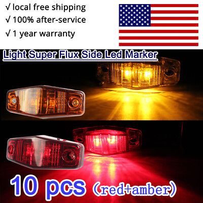 2.5inch Light Clear Lens Super Flux Led Side Trailer Rear Marker Light red amber