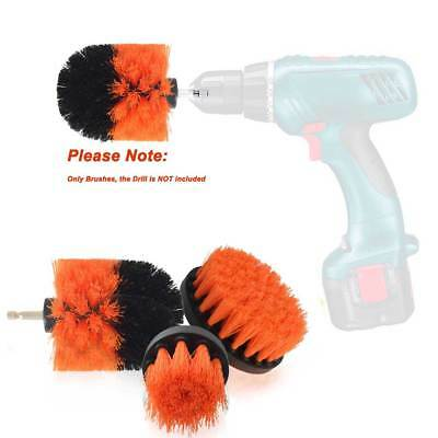 3Pcs/Set  Orange Tile Grout Power Scrubber Cleaning Drill Brush Tub Cleaner US