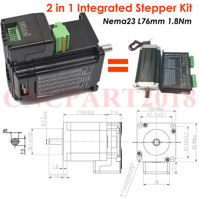 Integrated 2 in 1 Nema23 Stepper Motor L76mm 3A 1.8Nm Shaft 8mm for CNC Router