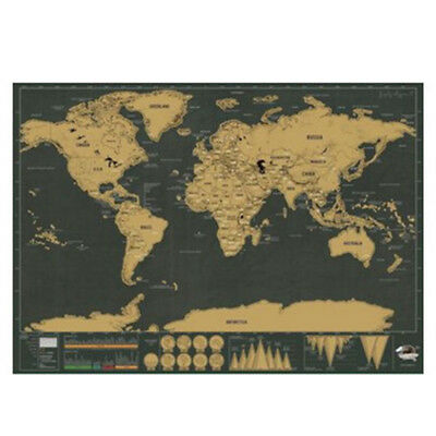 Deluxe The World Map Home Wall Decoration Travel Poster Black Gold Color