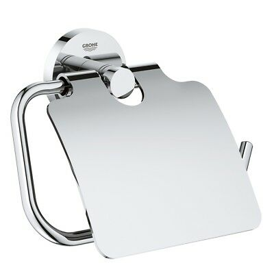 Grohe Essentials WC Toilet Paper Roll Holder with Cover Flap 40367 001 Chrome