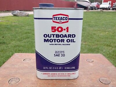 Vintage 1 Quarts Texaco Outboard Motor Oil Can 50-1 W/ Royal Guard Unopened Usa
