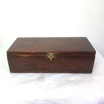 Vintage Wooden Trinket Pencil Jewellery Box Metal Catch Detail 20x9x6cm