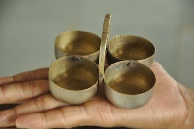 Old Brass Small Handcrafted 4 Compartment Food Serving Utensil , Collectible