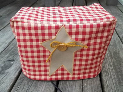 Toaster Cover Burgundy Tan Primitive Star Fabric Quilted 2 Slice