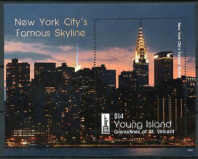 Young Island Gren St Vincent 2016 MNH New York City Skyline NY2016 1v S/S Stamps