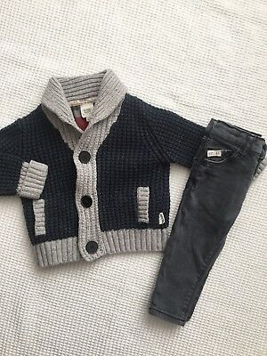 Ted Baker & River Island Baby Boys 6-9 Months Outfit, Bundle, Jeans, Cardigan