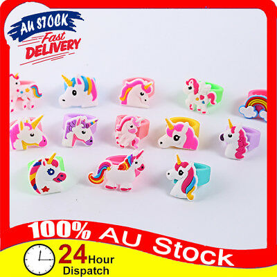 1/6/12 Pcs Rainbow Silicone Children Wedding Party Favours Unicorn Jewelry Rings
