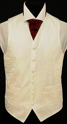 "W-85. Men's ivory white ""crushed"" fabric waistcoat - wedding, dress, suit,formal"