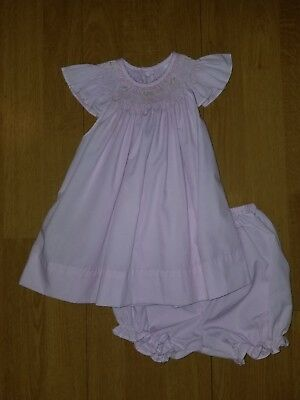 Girls Size 6 Months Remeber Nguyen Smocked Dress With Diaper Cover