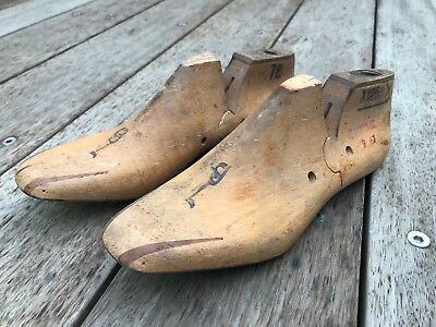 Antique vintage and ornamental matching pair of wooden shoe lasts