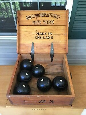 Rare  Antique Abercrombie & Finch 1800's Lawn Bowling Game Number 3 Original Box