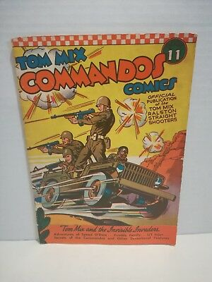 Tom Mix Commandos #11 1942- Tommy Guns Fred Meagher- Nazis Golden Age Comic Book