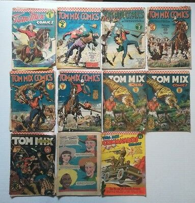 Tom Mix Western Ralston & Commandos #11 1940's Golden Age Comic Book Lot of 11
