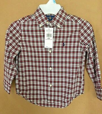 NEW Polo Ralph Lauren Boys Size 3 Plaid Check Shirt Red White Navy Pony Cotton