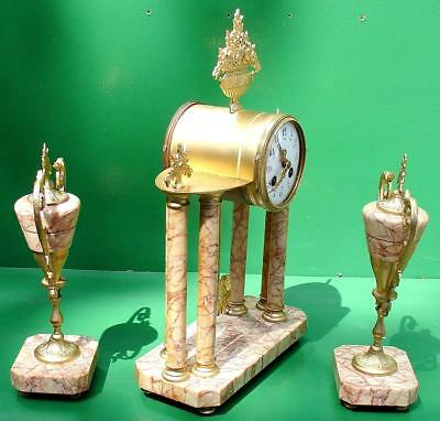 Japy Freres Antique French 8 Day Two Train Marble Rococo Portico Garniture Clock