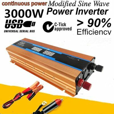 1500W-3000W DC 12V to AC 110V Car Solar Power Inverter Converter USB Charger