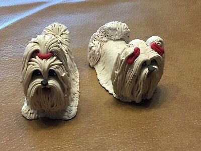 MALTESE Dog HAND PAINTED FIGURINE Resin Statue COLLECTIBLE white Puppies