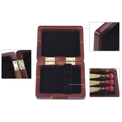 Wooden Bassoon Reed Case Maroon Hand Carved Bassoon Reed Box for 3pcs Reeds T0Z0