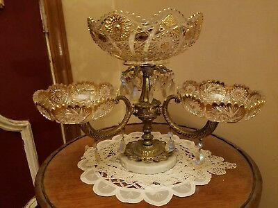 Antique Glass Compote/Center Bowl Brass / Metal  /Marble /Prisms