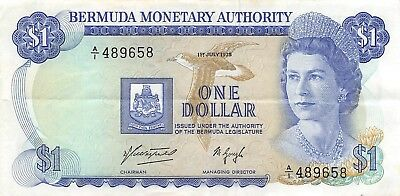 Bermuda   $1  1.7.1975  P 28a  Series  A/1  Que. II  Circulated Banknote  SD718