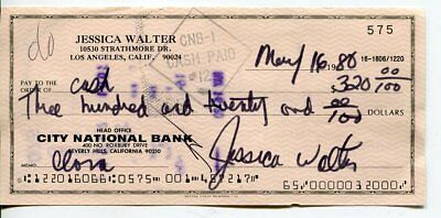 JESSICA WALTERS autograph HAND SIGNED bank check 9614