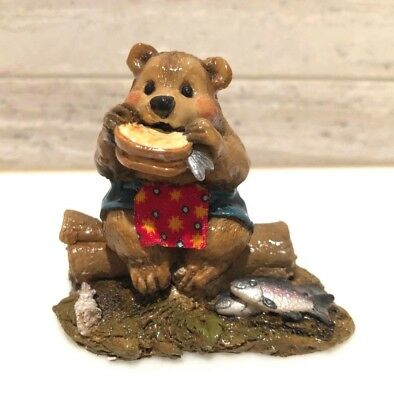 Wee Forest Folk Lunch on a Log Bear BB-3 Choice of Either Teal or Green Color
