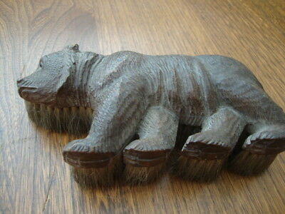 Unusual Antique Black Forest Carved Bear Clothes Brush