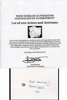 BUNNY HOEST autograph HAND SIGNED with COA 5492
