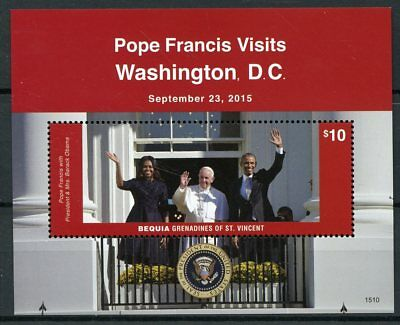 Bequia Grenadines St Vincent 2015 MNH Pope Francis Visits Washington DC 1v S/S