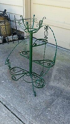 Vintage Green Spiral 6 Tiered Wrought Iron Plant Stand 37 Tall With 10 Basket